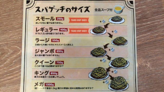 あんかけ太郎スパゲッティサイズ表