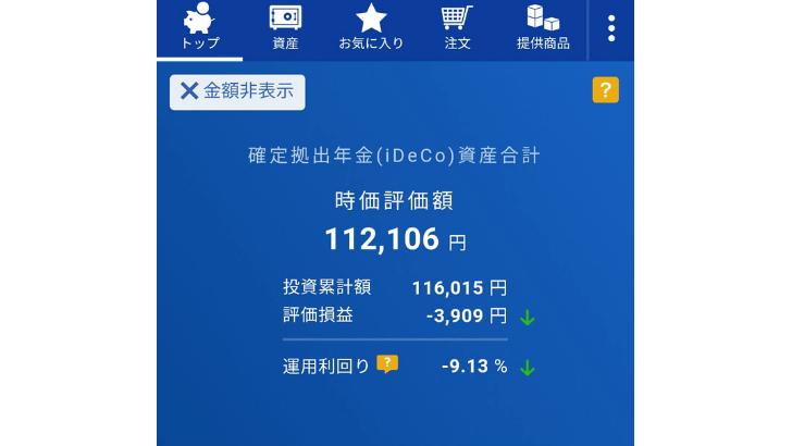 楽天・全米株式インデックス・ファンド運用成績マイナス9%